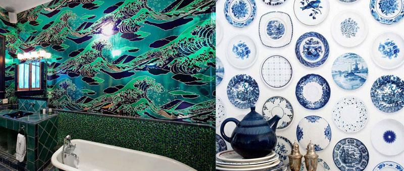 carte da parati adesive A sinistra: carta da parati per bagno in stile onda giapponese; a destra: carta da parati cucina ispirata alle maioliche delle campagne inglesi