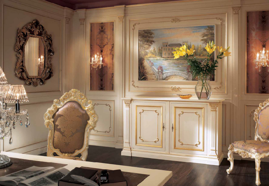 boiserie-classica-in-legno-bianca-e-oro