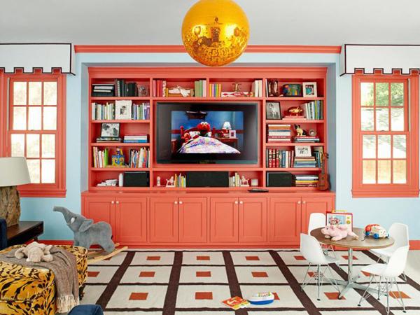 living coral parete color corallo per soggiorno