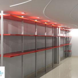 progetto arredamento negozio di abbigliamento-dettaglio degli scaffali-architetto nicola vignapiano