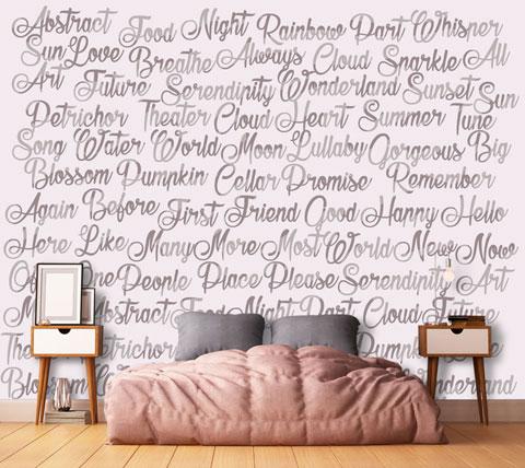 carte-da-parati-camera-da-letto-parole-su-muro | Seven Project Studio
