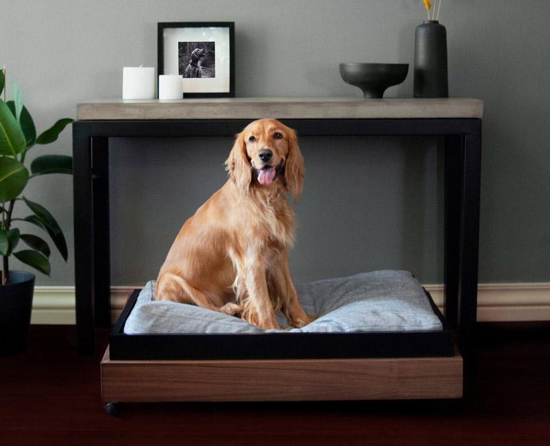 consolle di design con cuccia per il cane incorporata
