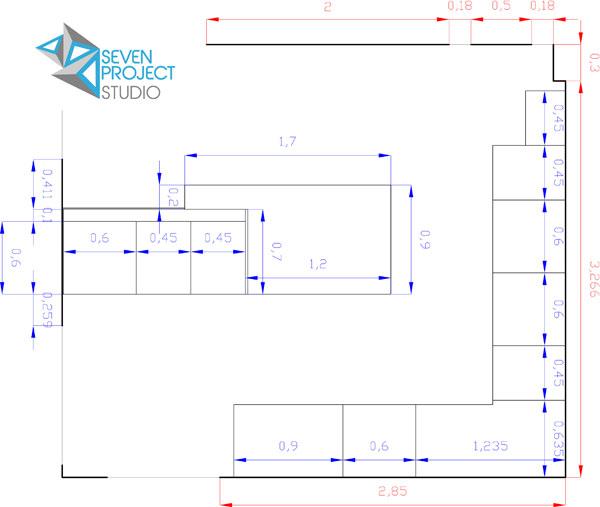 pianta dettagliata di una cucina realizzata dall'architetto nicola vignapiano per il seven project studio