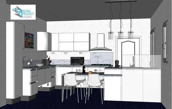 rendering 3d del progetto di una cucina personalizzata realizzato dal seven project studio