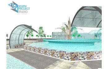 particolare della fontana della piazza-dettaglio tratto dal progetto di riqualificazione di una piazza di Fes- di nicola vignapiano