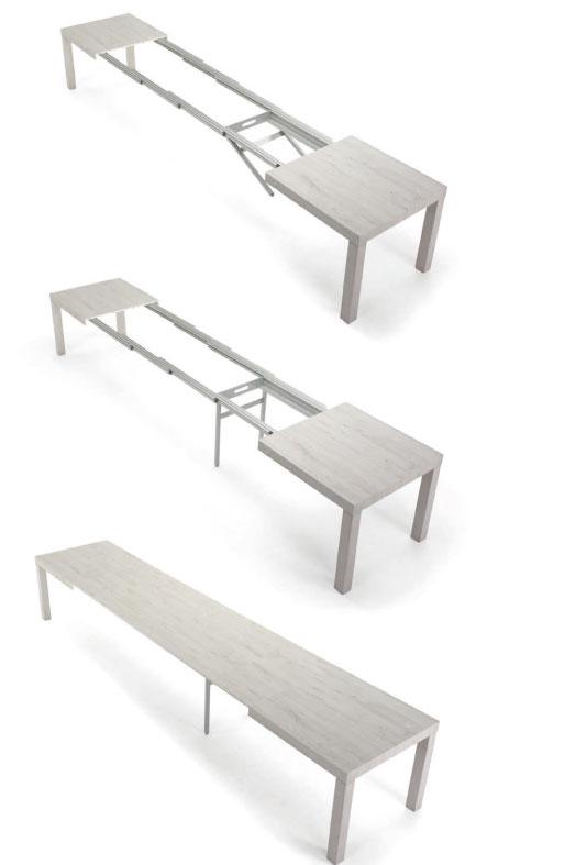 tavolo allungabile rettangolare in legno bianco
